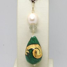 Pendant Yellow Gold 18K 750 With Pearl Prasiolite And Ceramics Made In Italy - $182.15