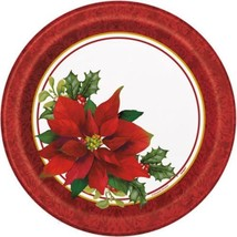 """Holly Poinsettia 8 Ct Paper Luncheon Dinner 9"""" Plates Christmas - £2.65 GBP"""