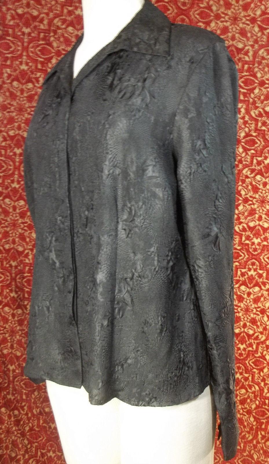 KORET black wrinkle polyester long sleeve blouse 16 (T45-03G8G) image 3