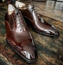 Handmade Men's Maroon Heart Medallion Lace Up Dress/Formal Oxford Leather Shoes image 3