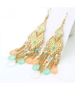 Bohemian Multicolor Tear Drop Beads Dangle Earr... - $18.00