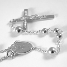 18K WHITE GOLD BIG ROSARY NECKLACE MIRACULOUS MARY MEDAL JESUS CROSS ITALY MADE image 2