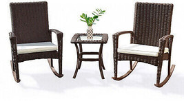 Patio Bistro Rattan Set Rocking Chairs Small Table Garden Furniture Clea... - $288.16
