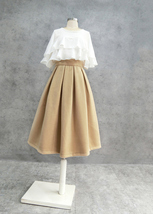 Women Winter Wool Skirt Outfit High Waist A-line Khaki Winter Skirt Plus Size image 2