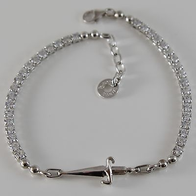 925 STERLING SILVER TENNIS BRACELET BY CESARE PACIOTTI WITH WHITE ZIRCONIA SWORD