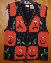 Ugly Halloween Sweater Vest Black Pumpkins Ladies Medium Bobbie Brooks H... - $24.70