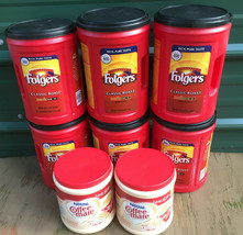 LOT 8 EMPTY Plastic Coffee Coffee-Mate Cans CONTAINERS Craft STORAGE can... - £8.47 GBP