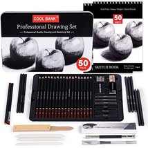 52 Piece Professional Drawing Set with 2 x 50 Page Drawing Pad, Graphite Drawing