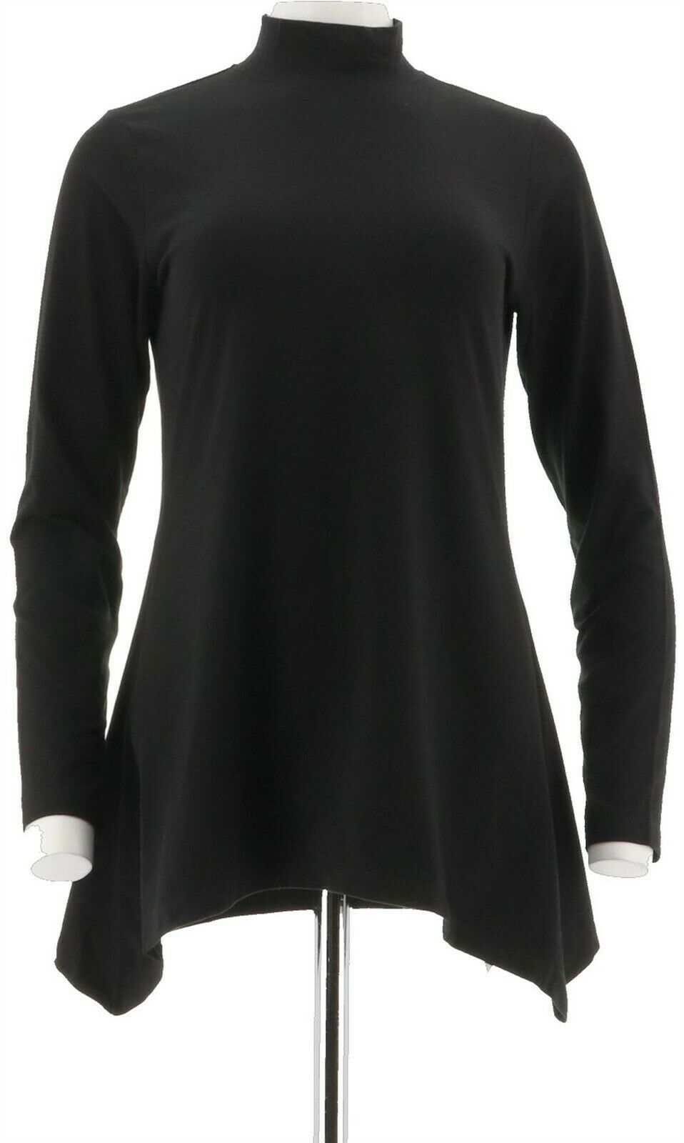 Primary image for Denim Co Long Slvs Mock Neck Perfect Jersey Trapeze Top Black XL NEW A296463