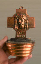 ⭐ vintage metal holy water font ,head of christ bas relief - $39.00