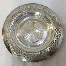 WM A Rogers Silverplate Coaster w/ Glass Insert Vintage Tray Dish Ashtra... - $18.80