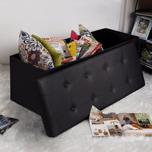 Large Storage Bench Faux Leather Folding Ottoman Seat Home Footrest Furn... - £56.73 GBP