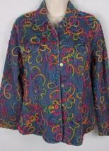 Chico's 1 cotton denim blue jean jacket multi rainbow colored textured s... - $11.87