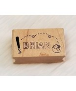 BRIAN Rubber Stamp Name and Baseball Theme Wood Mounted ▪NEW - $3.67