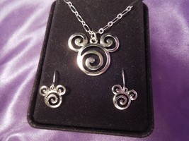 Mickey Mouse Ears Swirl Silver Tone Earrings and Necklace Set - $34.65