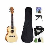 Soprano Ukulele Solid Top Spruce 21 Inch With Ukelele Accessories With G... - $42.56