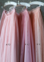 Coral Pink Tulle Skirt Bridesmaids Long Tulle Skirt High Waisted Coral Wedding image 7