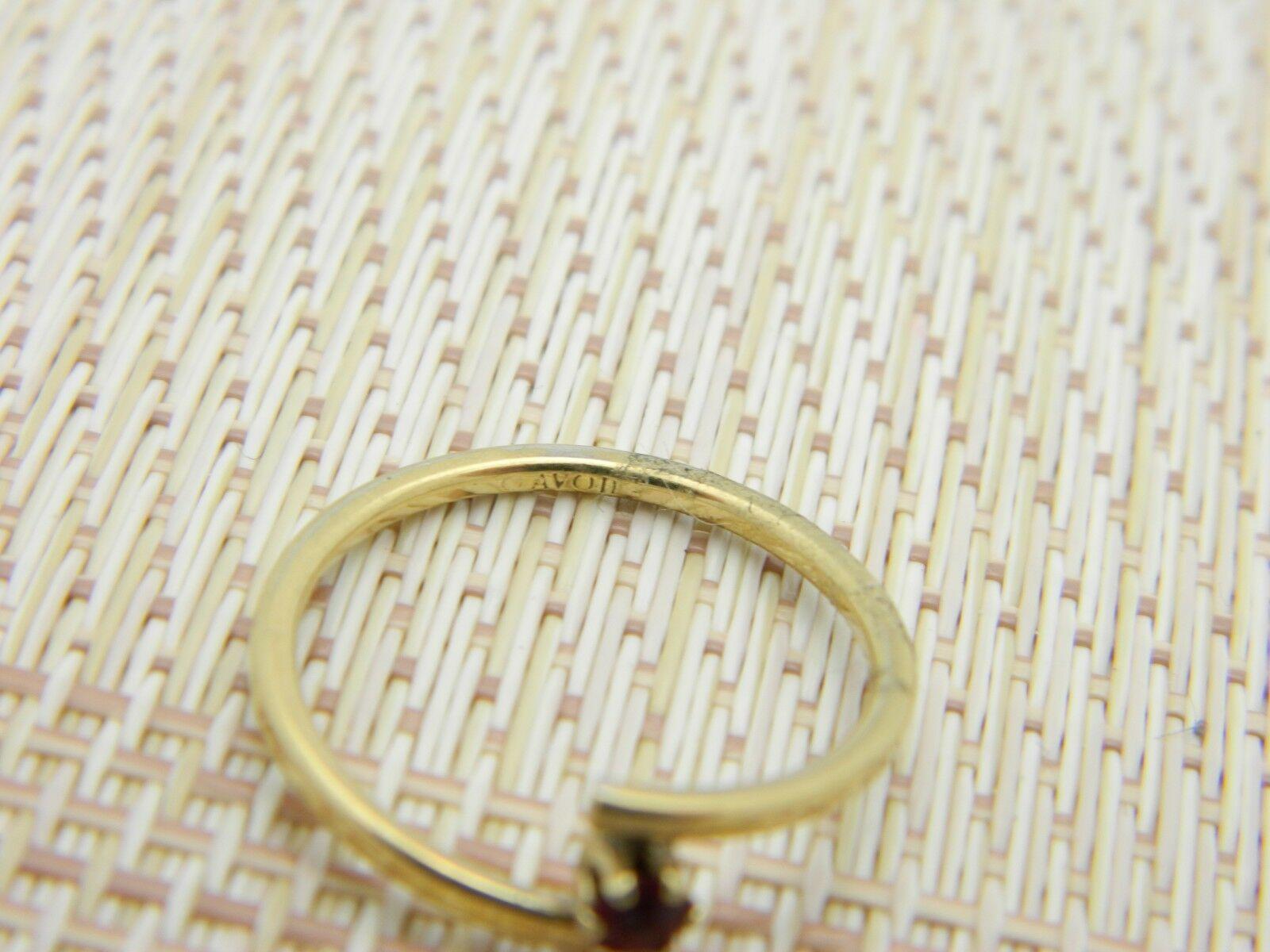 AVON Gold Tone Red Rhinestone Dainty Ring Adjustable Size 7.25 Vintage image 5