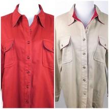 DENIM & CO Women's Button Front Shirt Jacket Long Sleeve 100% Cotton Size L - $12.60