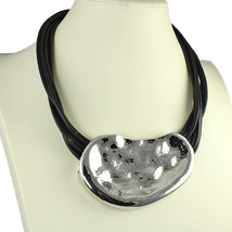 Large hammered finish chunky pendant black cord leather choker necklace jewelry - $18.21