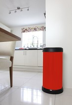 40 Litre Waste Bin Metal Effect One Touch Top Lid Decor Home Kitchen Rubbish Red - $43.87
