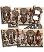 AFRICAN ANCIENT WARIOR TRIBE MASKS LIGHT SWITCH OUTLET WALL PLATE ROOM A... - $8.99+