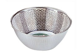 "Kitchen Flower Stainless Steel Embossing Rice Washing Bowl Basket Basin (11.8"") image 1"