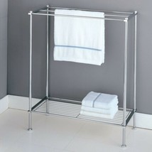 Chrome Floor Towel Rack Stand Metal Storage Bathroom Bath Shelf Display ... - $32.57