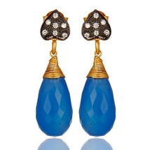 18K Gold Plated 925 Sterling Silver Blue Chalcedony Drop Earrings Jewelry - $34.65