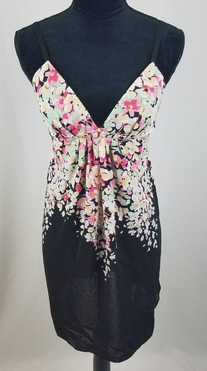 Oscar De La Renta pink label women S nightgown chemise spaghetti strap floral - $20.74