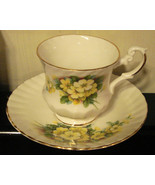 ROYAL DOVER Porcelain Tea Cup POTTERY FINE BONE CHINA Yellow Flowers VTG   - $14.80