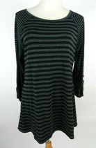 Calvin Klein Performance L Womens Knit Top LS Black Gray Striped Scoop Neck - $29.69