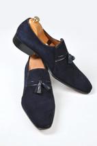 Handmade Men's Navy Blue Slip Ons Tassel Loafer Suede Shoes image 2
