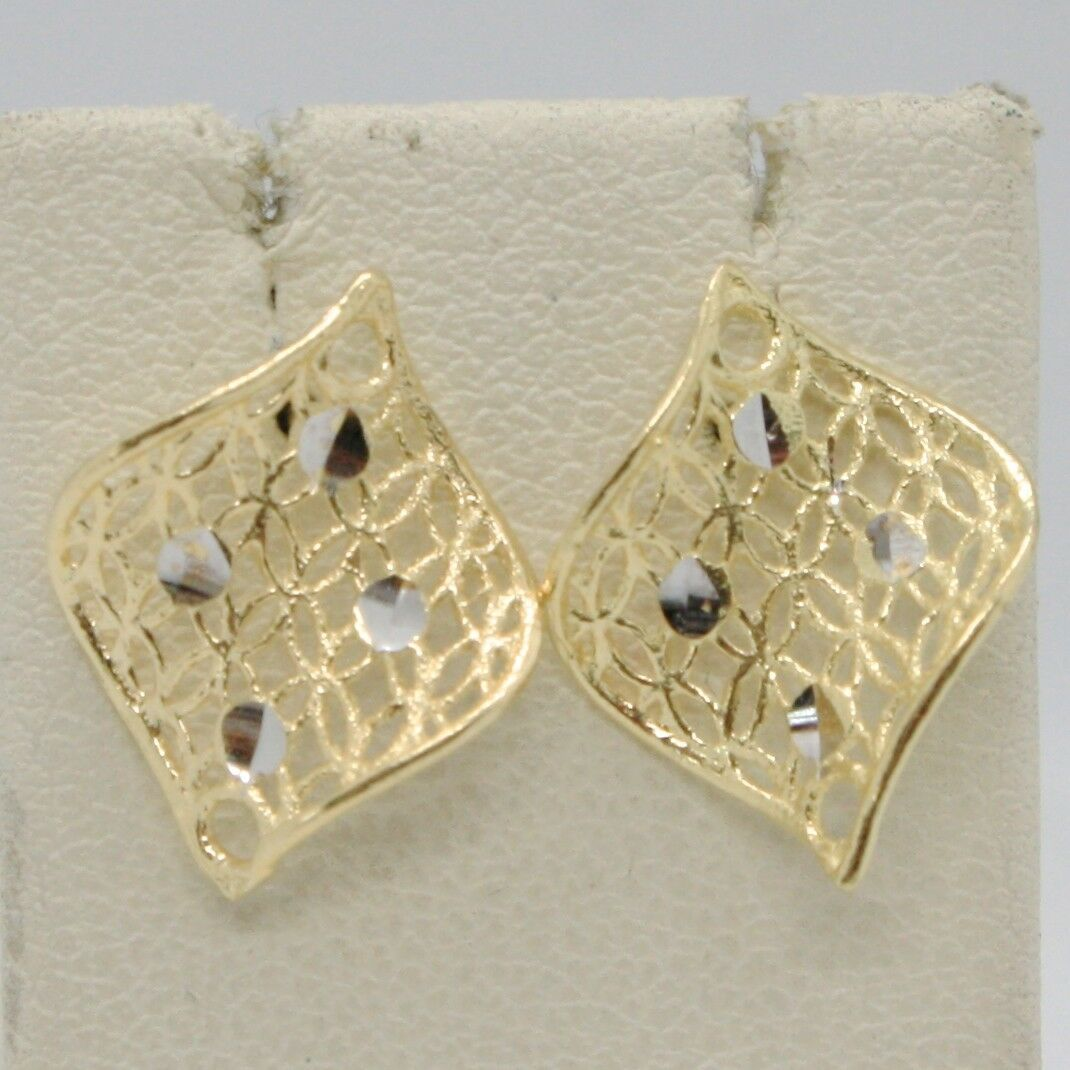 SOLID 18K YELLOW GOLD PENDANT EARRINGS FINELY WORKED ONDULATE LEAF MADE IN ITALY