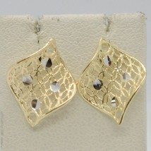 SOLID 18K YELLOW GOLD PENDANT EARRINGS FINELY WORKED ONDULATE LEAF MADE IN ITALY image 1