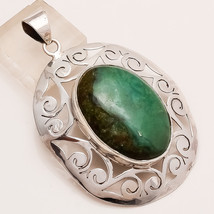 Natural Australia Bio Chrysoprase Pendant Sterling Silver Vintage Tribal Jewelry - $30.24