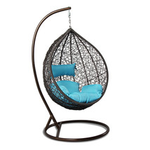 Outdoor Strong Rattan Hanging Proch Wicker Swing Chair Blue Cushion - $569.96