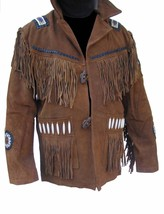 QASTAN Men's New Brown Cowboy/Western Bead Fringe Suede Leather Jacket FJ28 - $137.00