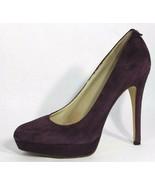 Michael Kors women's pumps shoes platform suede leather purple heels siz... - $37.61