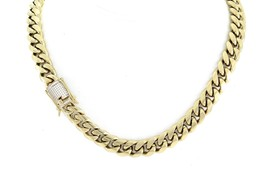 "Men Curb Cuban Miami Link 30"" Chain 14k Gold Plated 14mm *1ct Lab Diamon... - $47.51"