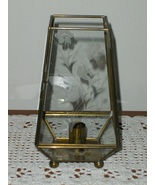 Vintage Brass & Glass Candle Display Case Footed with Floral & Bird Etch... - $49.79