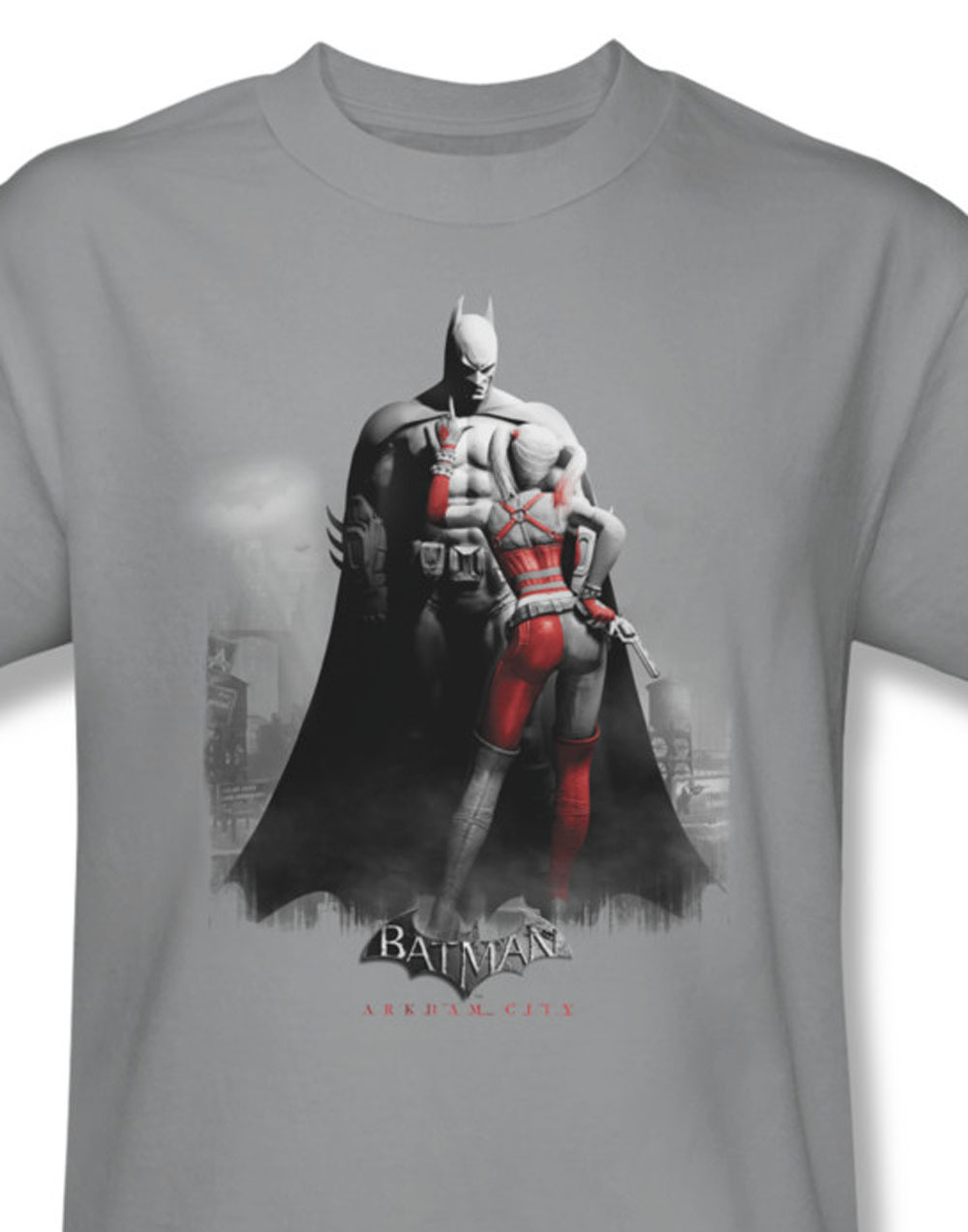 At dc comics batman and harley quinn graphic tee arkham city for sale online gray graphic tshirt