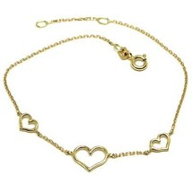 18K YELLOW GOLD SQUARE ROLO MINI BRACELET, 7.5 INCHES, 3 HEARTS, MADE IN... - $147.00