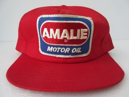 Vintage Amalie Motor Oil Snapback Patch Swingster Hat Cap Made in USA Red - $46.74