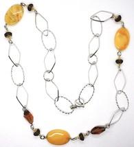 925 Silver Necklace, Brown Jade Oval, Smoky Quartz, 80 cm long image 2