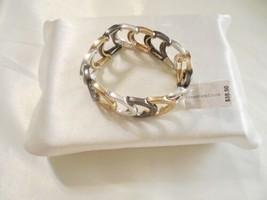 Charter Club Gold/Silver/Grey Tone Metallic Texture Link Stretch Bracele... - $14.39