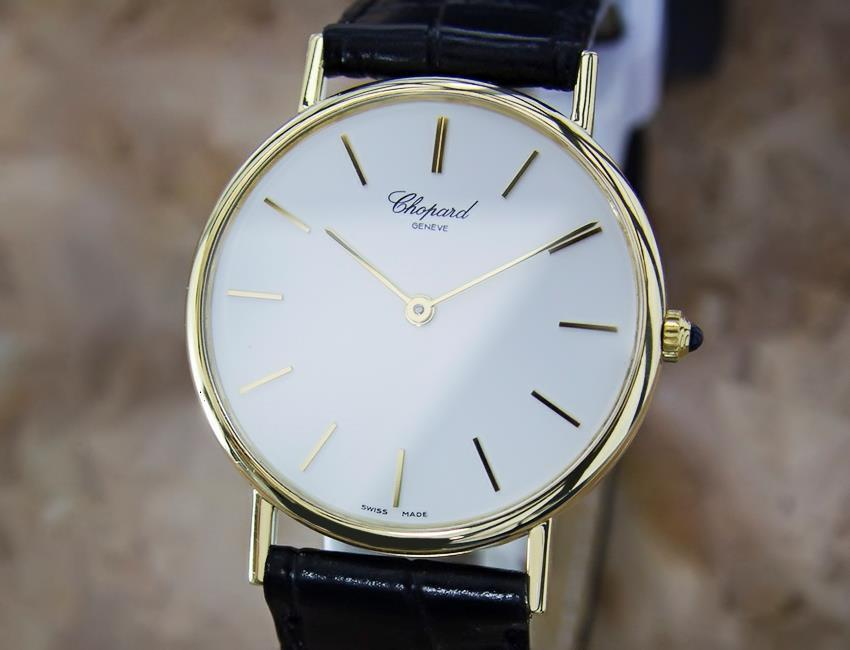 Primary image for Chopard Swiss Made 18k Solid Gold Mens Quartz Luxury Dress Watch c1990 MX132