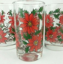 Set of 8 Libbey Juice Glasses Tumblers Poinsettia Christmas Holiday VTG ... - $19.32