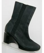 Cole Haan 'Air Sara' black nubuck leather NikeAir short boot block heels... - $102.49