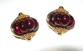 SWAROVSKI SIGNED FRUIT SALAD CARVED/MOLDED RED CHERRY GLASS EARRINGS DIM... - $80.00